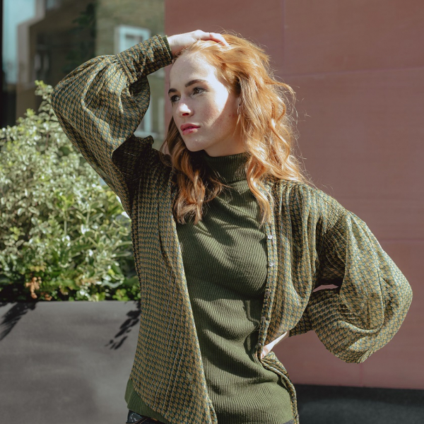 Khaki green roll-neck with green/beige patterned shirt